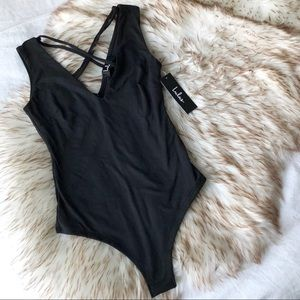 NWT Lulu's Someone Great Black Bodysuit XS